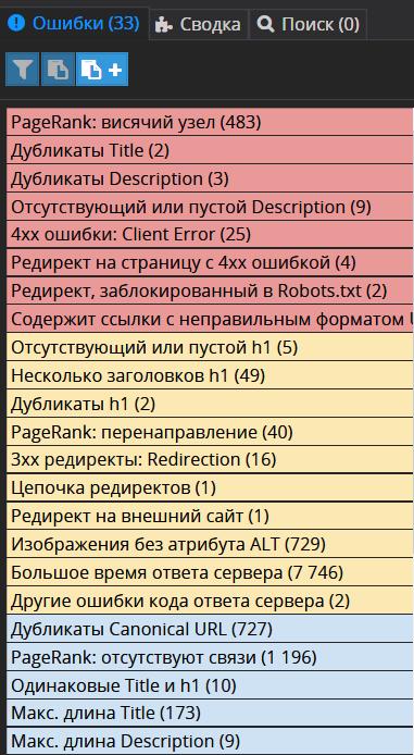 Ошибки сканирования сайта