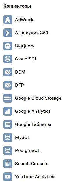 Коннекторы Google Data Studio