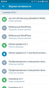Журнал изменений на сайте WordPress