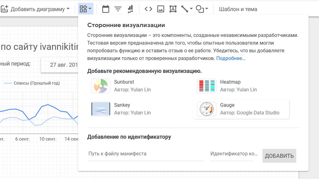 Добавление спидометра в отчет Google DataStudio