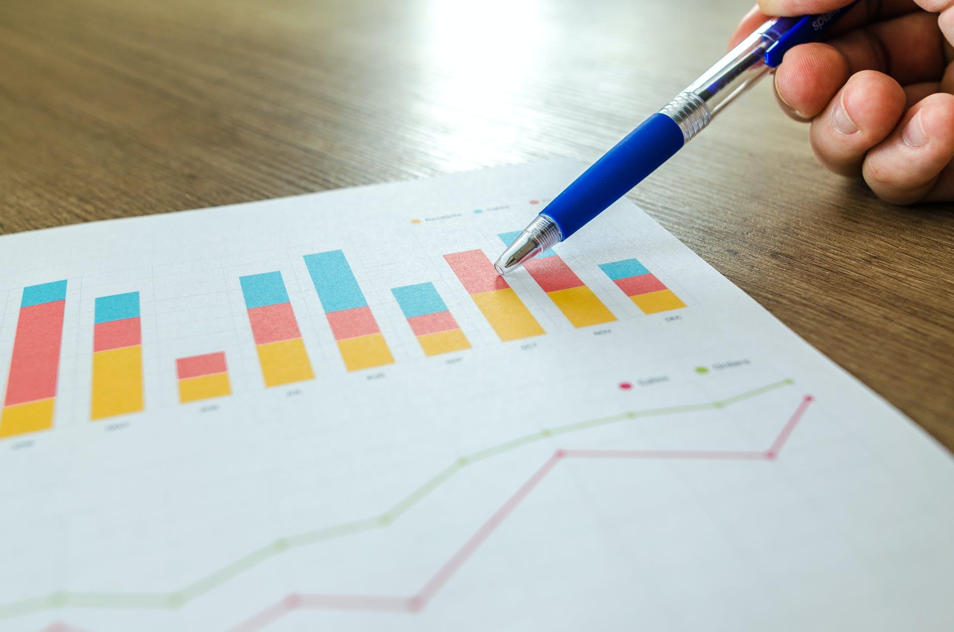 analytics blur close up commerce